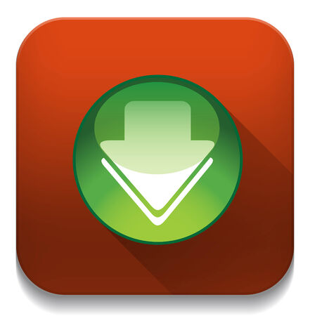 Download icon With long shadow over app button Vector