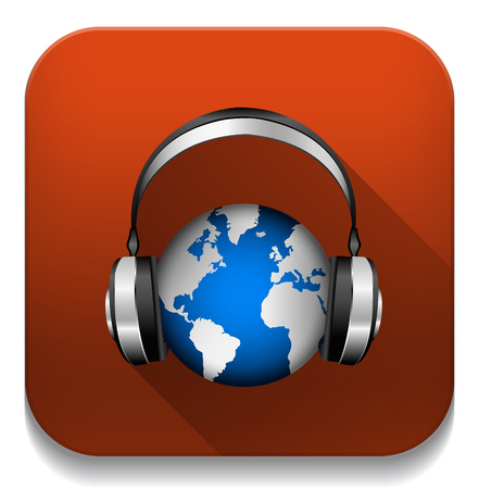 World music With long shadow over app button Vector