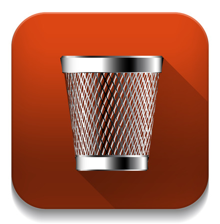 trash can icon With long shadow over app button Vector