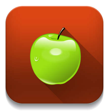 Green Apple With long shadow over app button Vector
