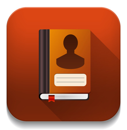 address book icon With long shadow over app button Vector