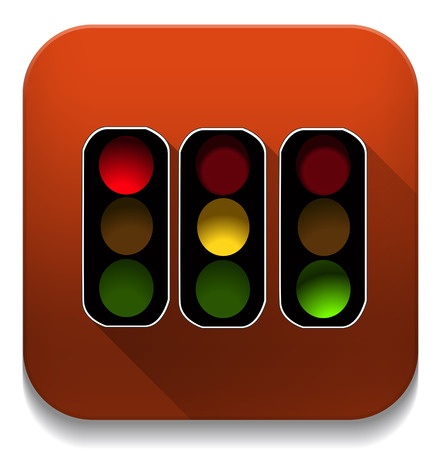 red orange green traffic lights With long shadow over app button Vector