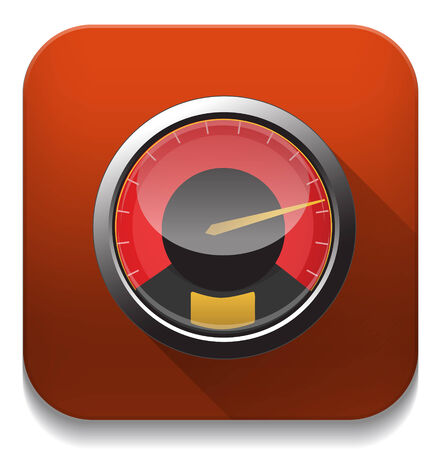 speedometer icon With long shadow over app button Vector