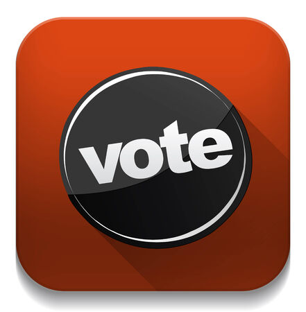 vote icon With long shadow over app button Vector
