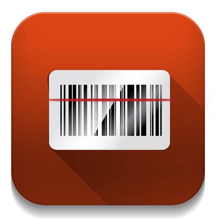 barcode scan: icono de escaneo de c�digo de barras con una larga sombra sobre el bot�n de aplicaci�n