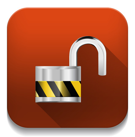 security concept with locked combination pad lock icon With long shadow over app button Vector