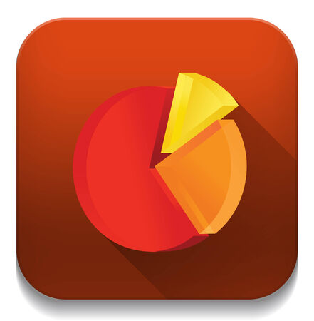 pie chart icon With long shadow over app button Vector