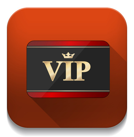vip card icon With long shadow over app button Vector