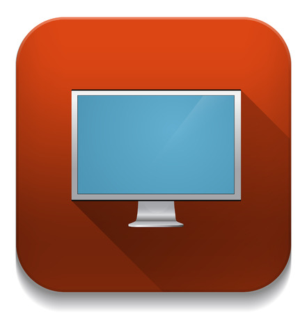 LCD TV monitor. With long shadow over app button Vector