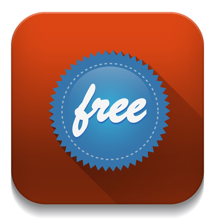 Free Icon With long shadow over app button Vector