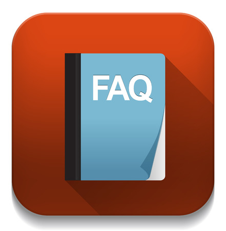 faq icon With long shadow over app button Vector