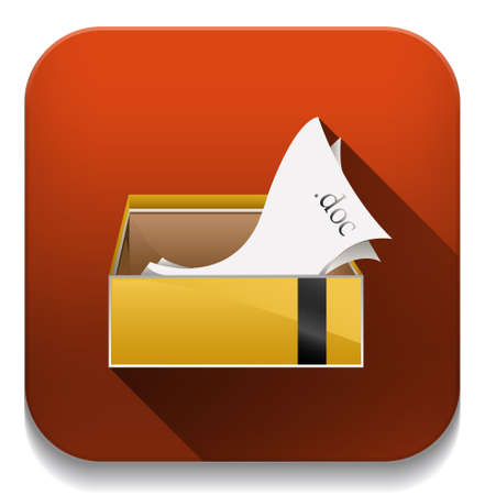Documents Folder icon With long shadow over app button Vector