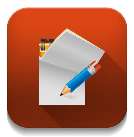 """Icono del documento """"notas"""" con una larga sombra sobre el botón de aplicación Vectores"""