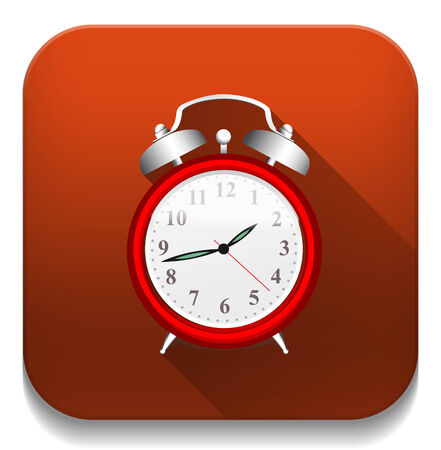 Clock Alarm icon With long shadow over app button Vector