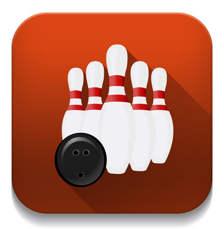 bowling icon With long shadow over app button Vector
