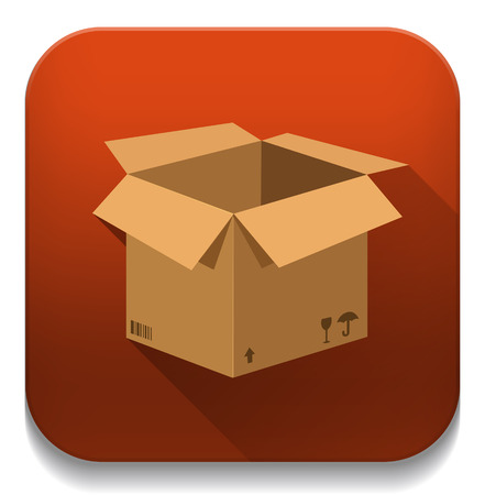 Open cardboard box icon With long shadow over app button Vector