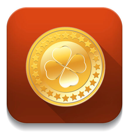 Golden badge With long shadow over app button Vector