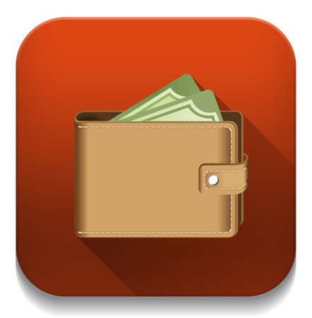 money in wallet icon With long shadow over app button Vector