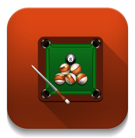 billiard game icon With long shadow over app button Vector