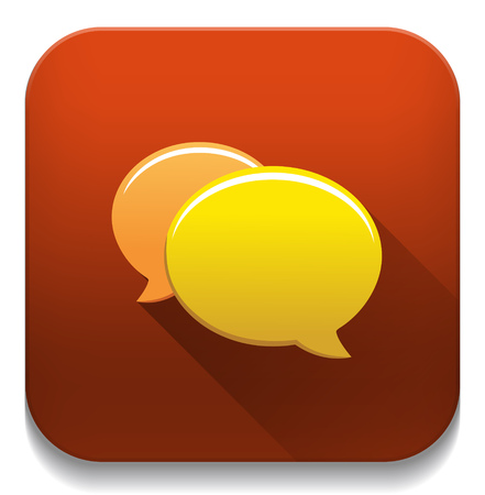 chat icon With long shadow over app button Vector
