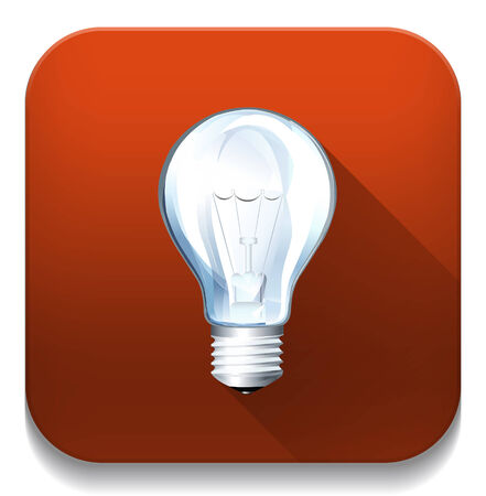 light bulb icon With long shadow over app button Vector