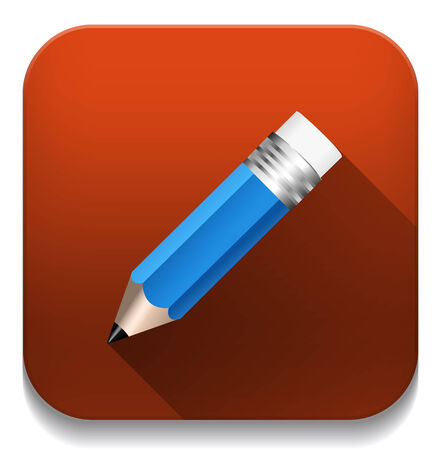 pencil icon With long shadow over app button Vector