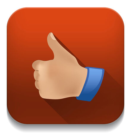 thumb up like icon With long shadow over app button Vector