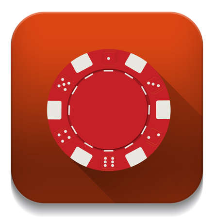 red casino chip icon With long shadow over app button Vector
