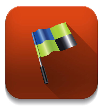 3d flag icon With long shadow over app button Vector