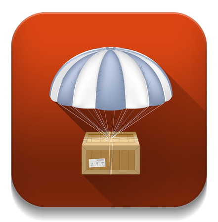 delivery box & umbrella icon With long shadow over app button Vector