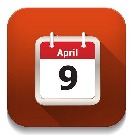calendar icon With long shadow over app button Vector