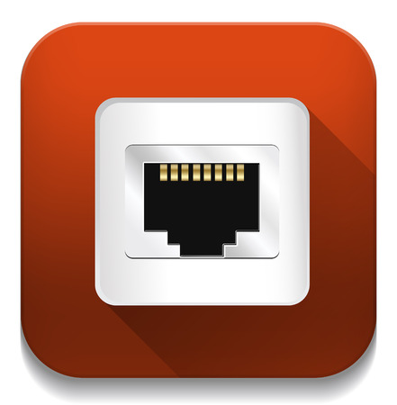 Shiny Network Port Icon With long shadow over app button Vector