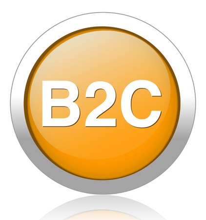 b2e: b2c ( business to consumer ) button Illustration