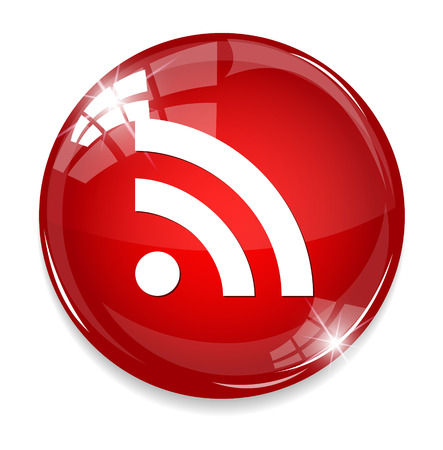 quadrate pictogram: glossy web button with RSS feed sign