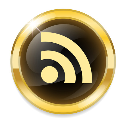 really simple syndication: glossy web button with RSS feed sign