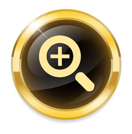 icon glossy: zoom in icona lucido Vettoriali