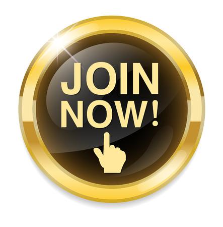 Join now button, registration icon and button Ilustração