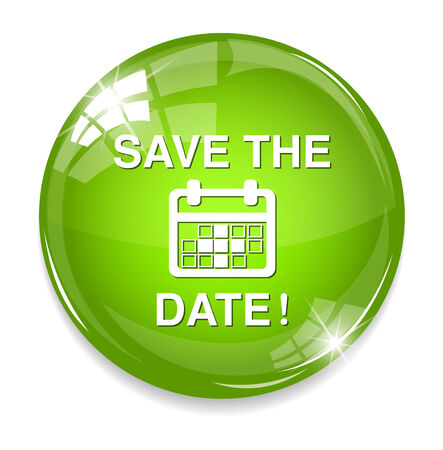 Save the date glossy  button Vector