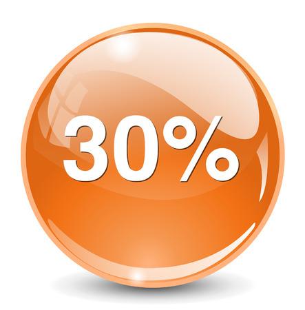 thirty percent off: 30 percent icon Illustration