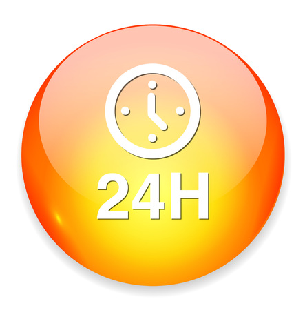 24: 24 hours a day icon Illustration