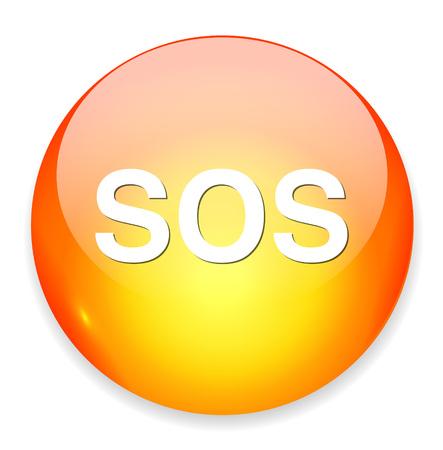 sos: Sos button. round sticker. Metallic icon