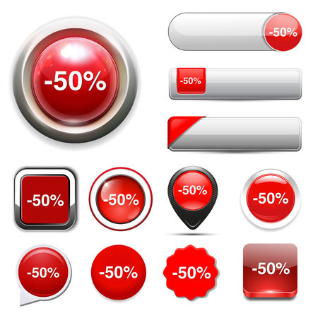 50: 50%  percent off  button