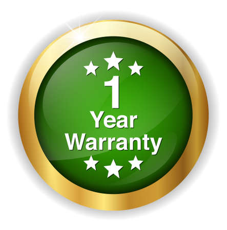 1 year warranty: 1 year warranty button Illustration