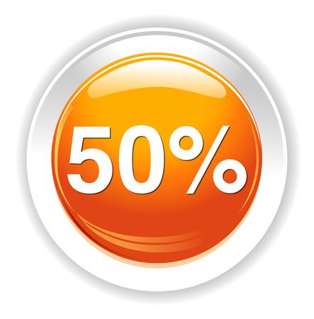 50: 50 percent icon Illustration