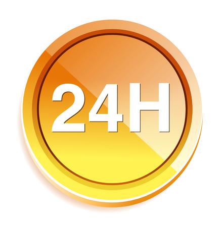 24: 24 hours  icon Illustration