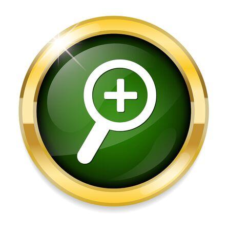 zoom in: icono de acercar brillante Vectores