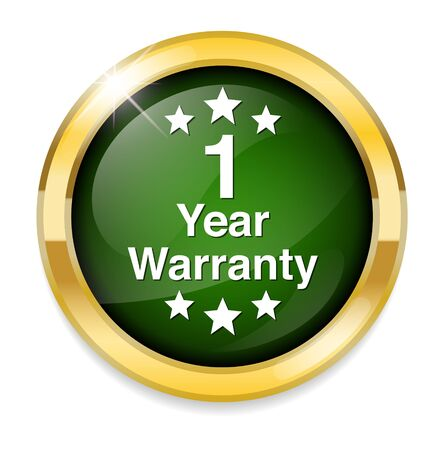 warranty: 1 year warranty button Illustration