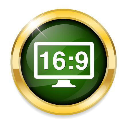 16 9: 16 9 display  button Illustration