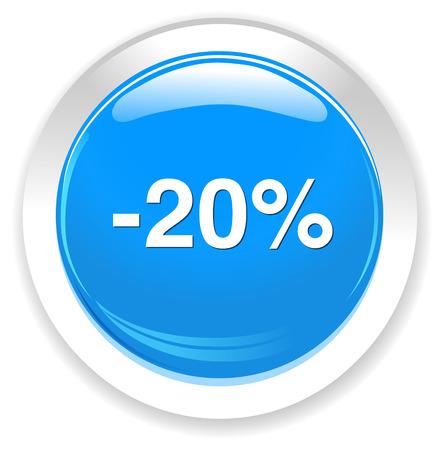 20: 20 percent off button Illustration