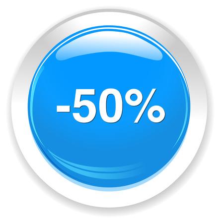 boton on off: Bot�n de 50% por ciento de descuento Vectores